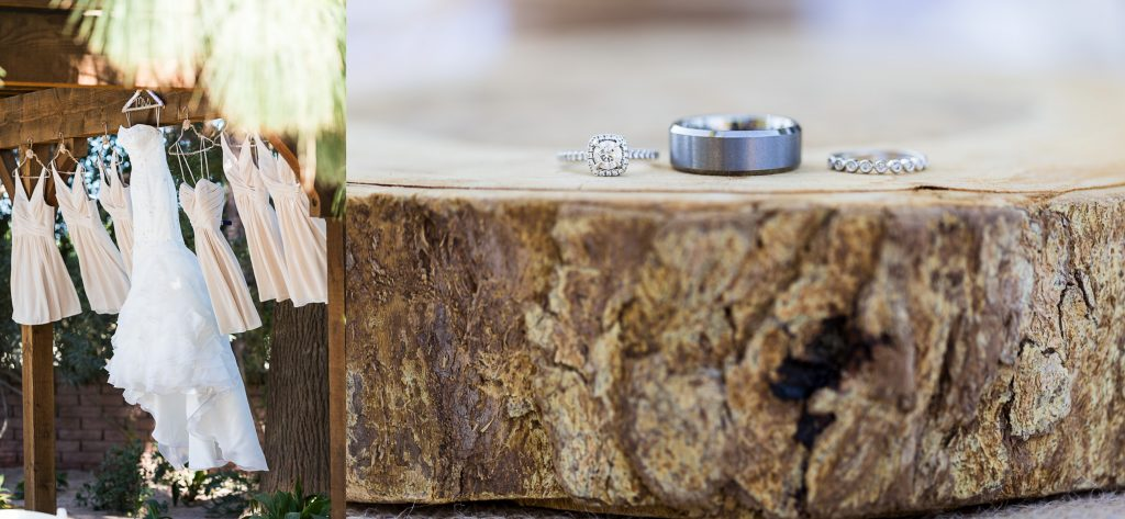 Wedding, Dress, Tree, Log, Slice, Ring, Engagement, Rustic, Champagne