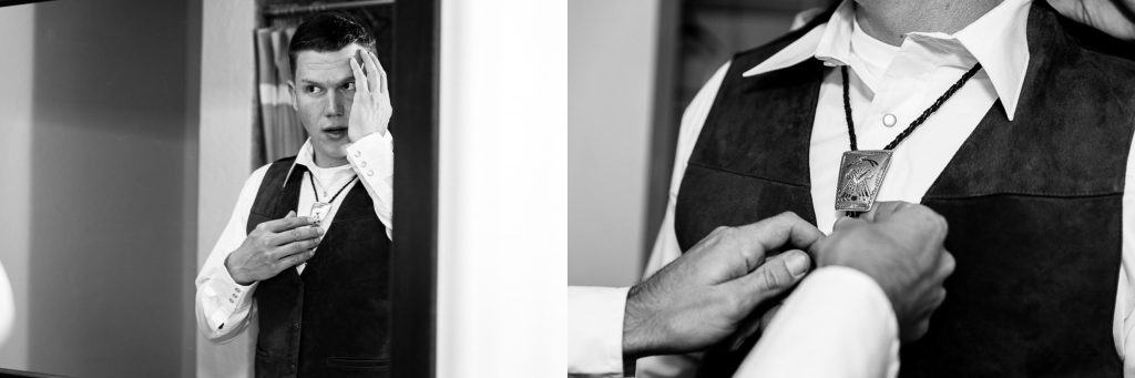 Groom, mirror, hair, bolo tie, black&white