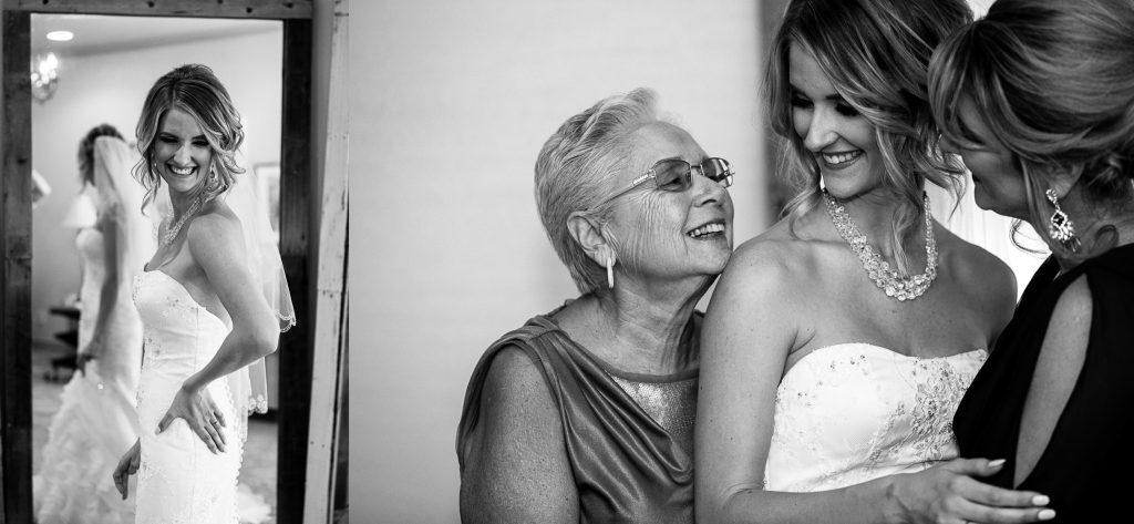 Black & white, bride, mother of bride, grandma, mirror, sweet