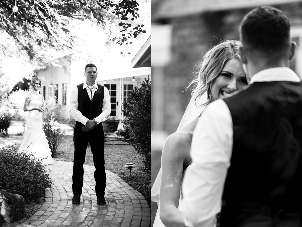 black & white, first look, anticipation, bride, groom, smile, nervous