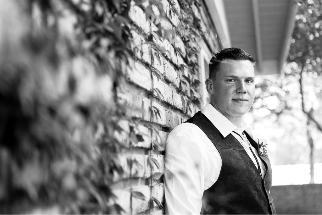 black&white, groom, brick, wall, ivy, vest, rustic, handsome