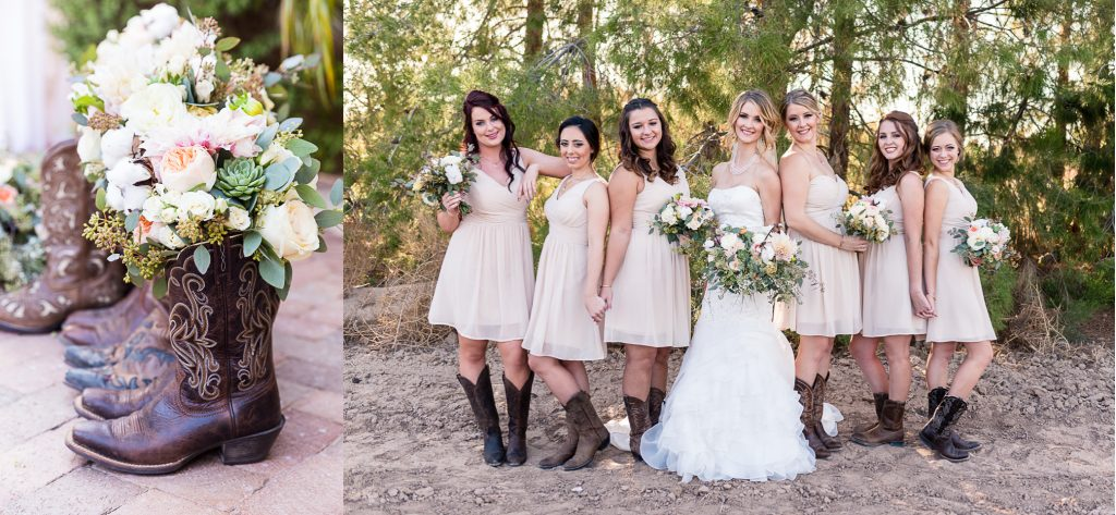 boots, cowgirl, wedding, bouquet, rustic, succulent, cotton, blush