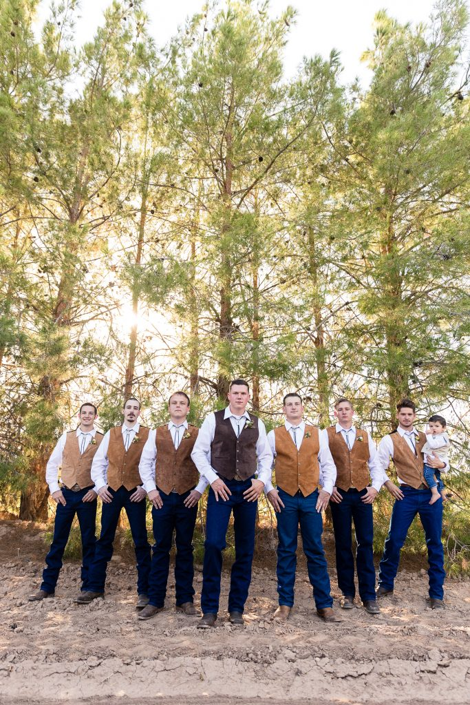 Groom, groomsmen, vests, rustic, boots, manly, rugged, flying v