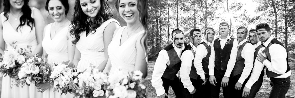 black&white, funny, bridal party, goofy, silly, candid