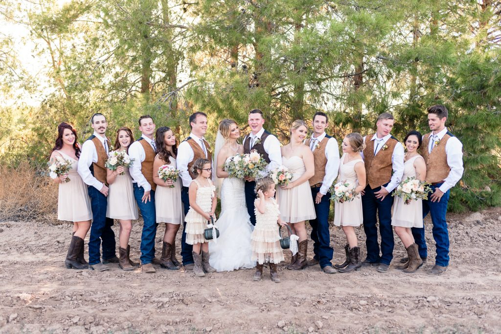 Bridal party, laughing, boy girl, champagne dress, boots, rustic
