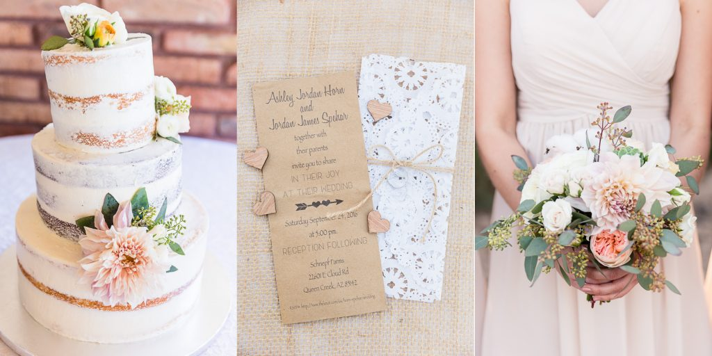 details, cake, wedding, bouquet, bridesmaid, invitation, kraft paper, doily, hearts, twine, burlap, rananculus, naked cake, blush