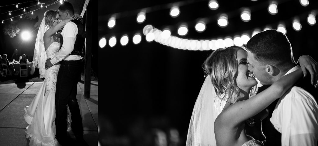 First dance, wedding, black & white, twinkle lights, romantic