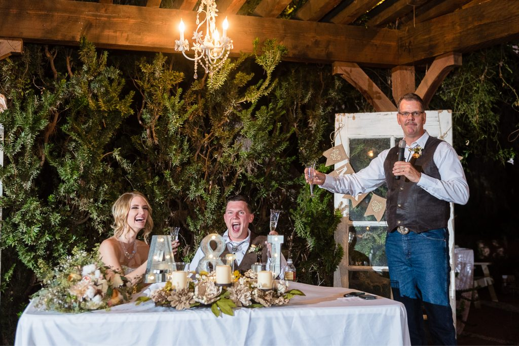 wedding, toast, father, laugh, bride, groom