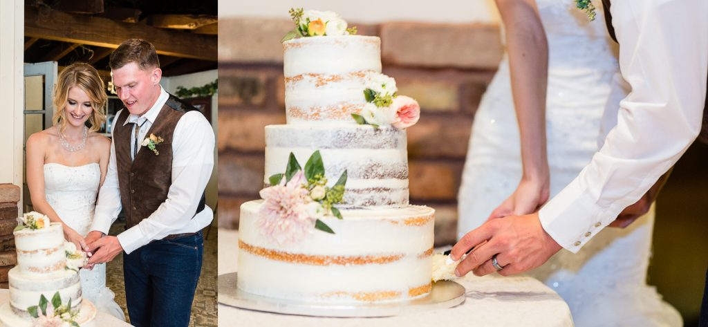 wedding, naked cake, rananculus, rustic