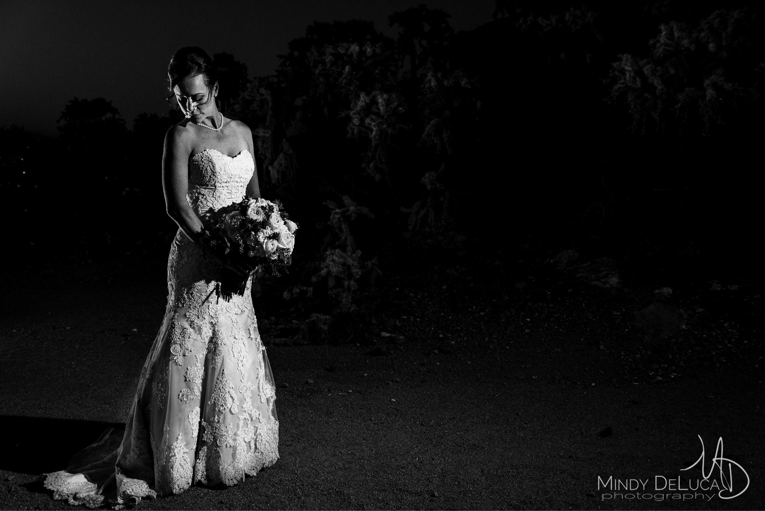 Black & white nighttime bridal photo