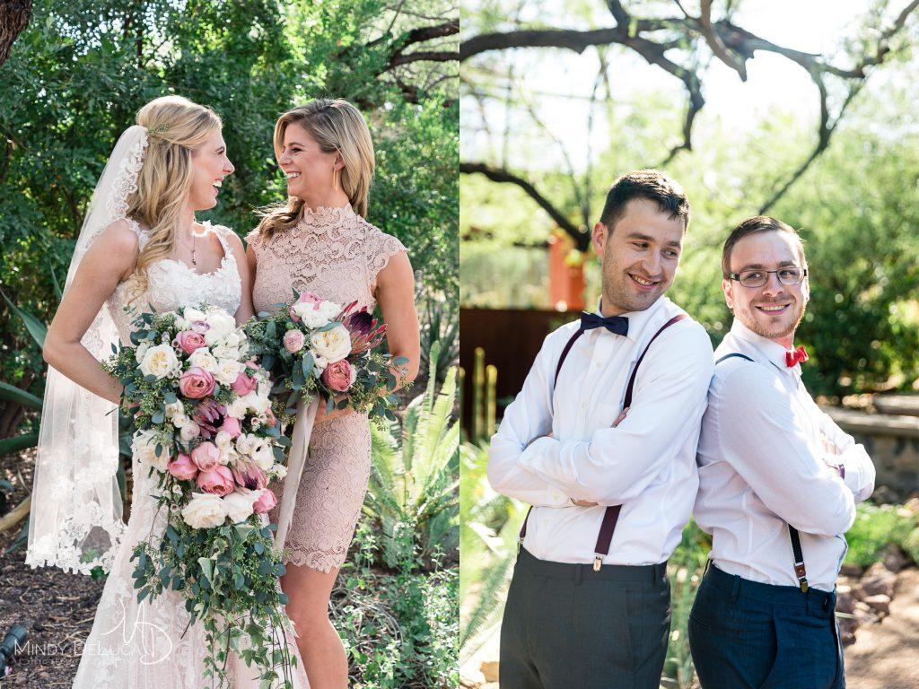 Lace bridesmaid dress, Bowtie and suspenders groomsmen