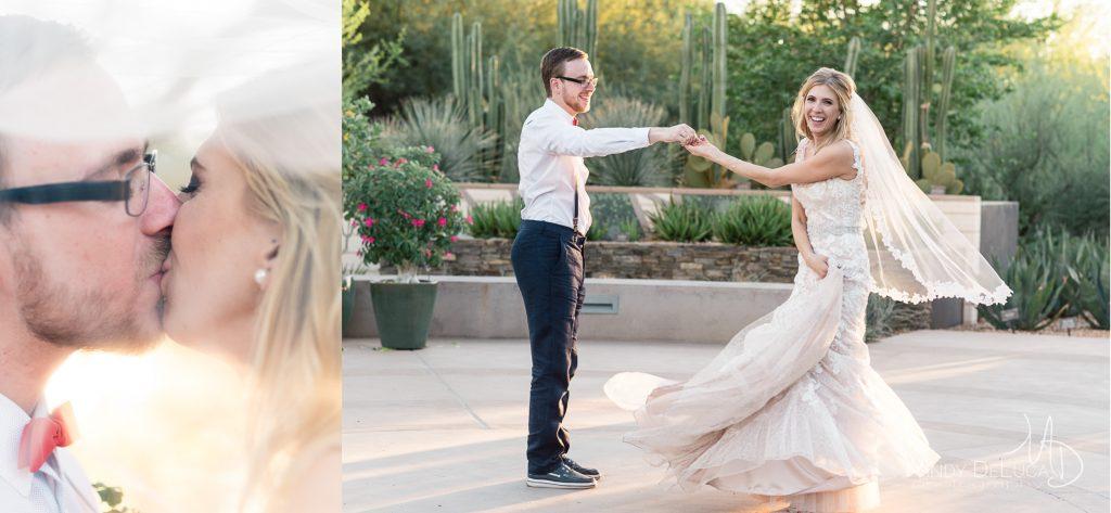 Veil Kiss and Groom twirls bride