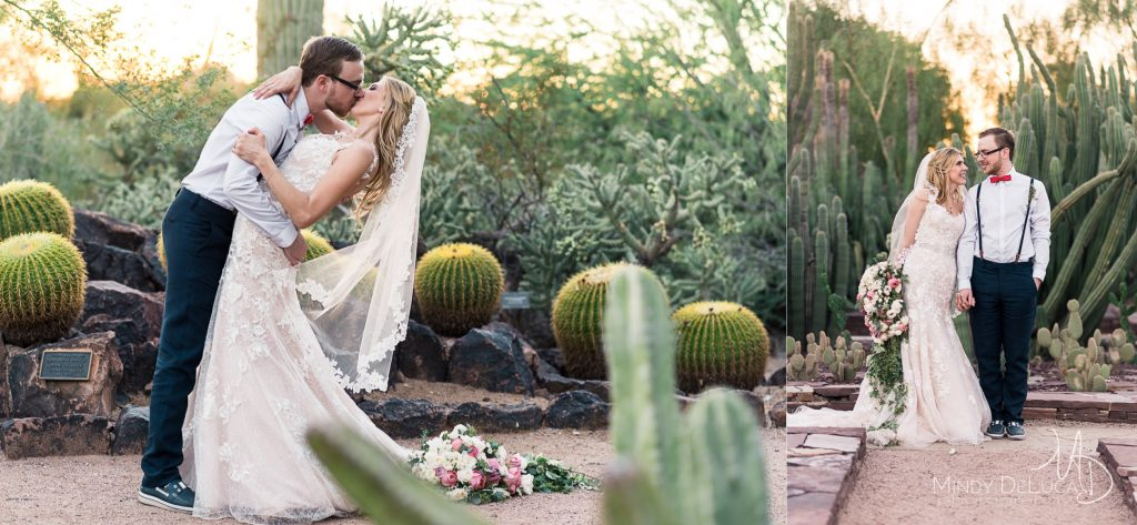 Desert cactus sunset wedding photos