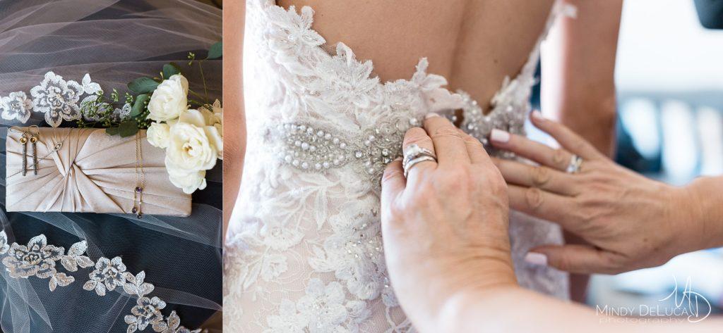 Brides handbag and jewelry details