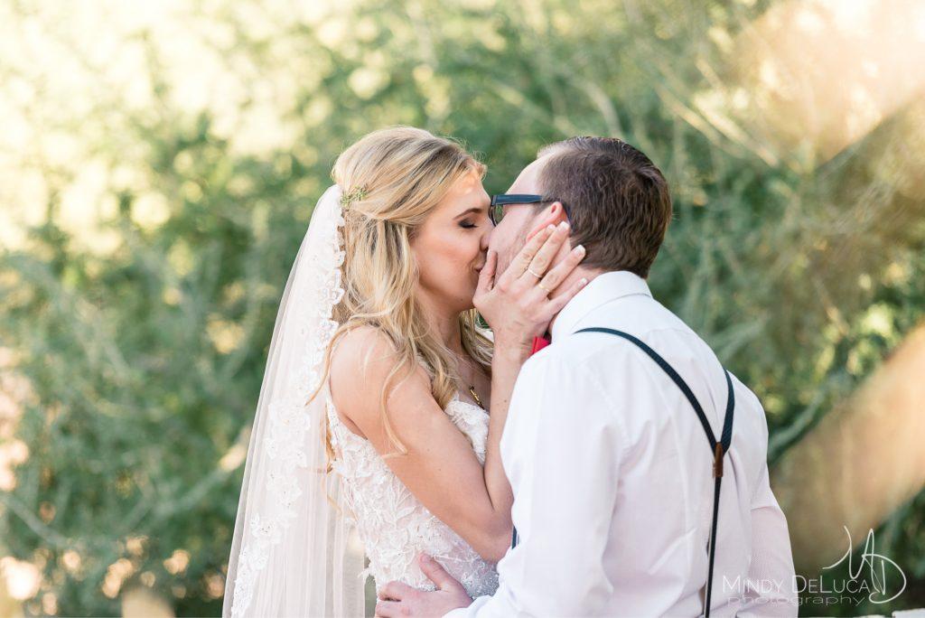 Romantic first look kiss