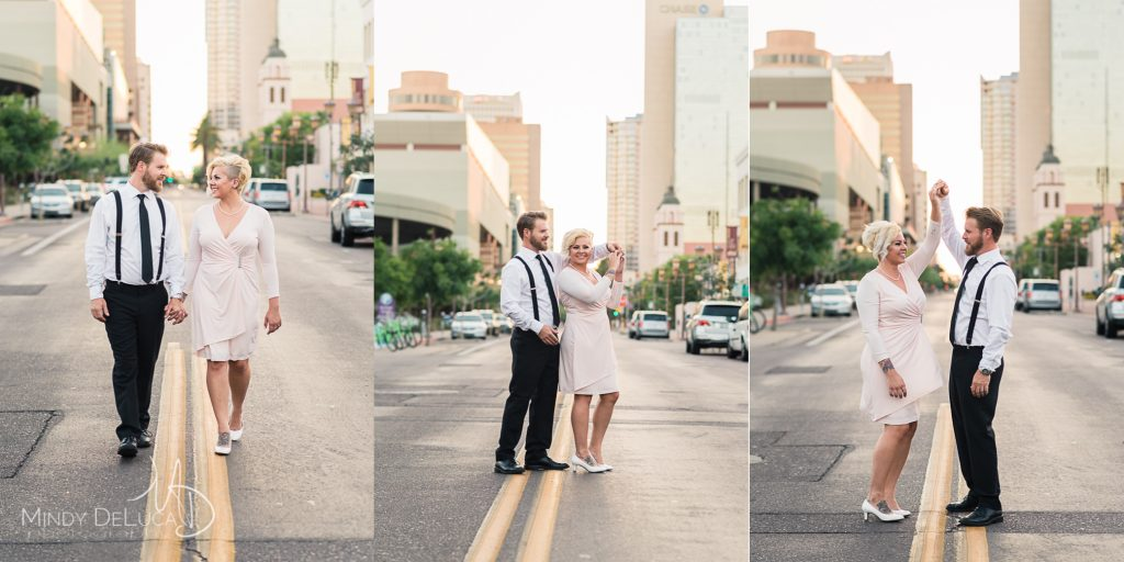 Downtown Phoenix Streets Fun Engagement Photo
