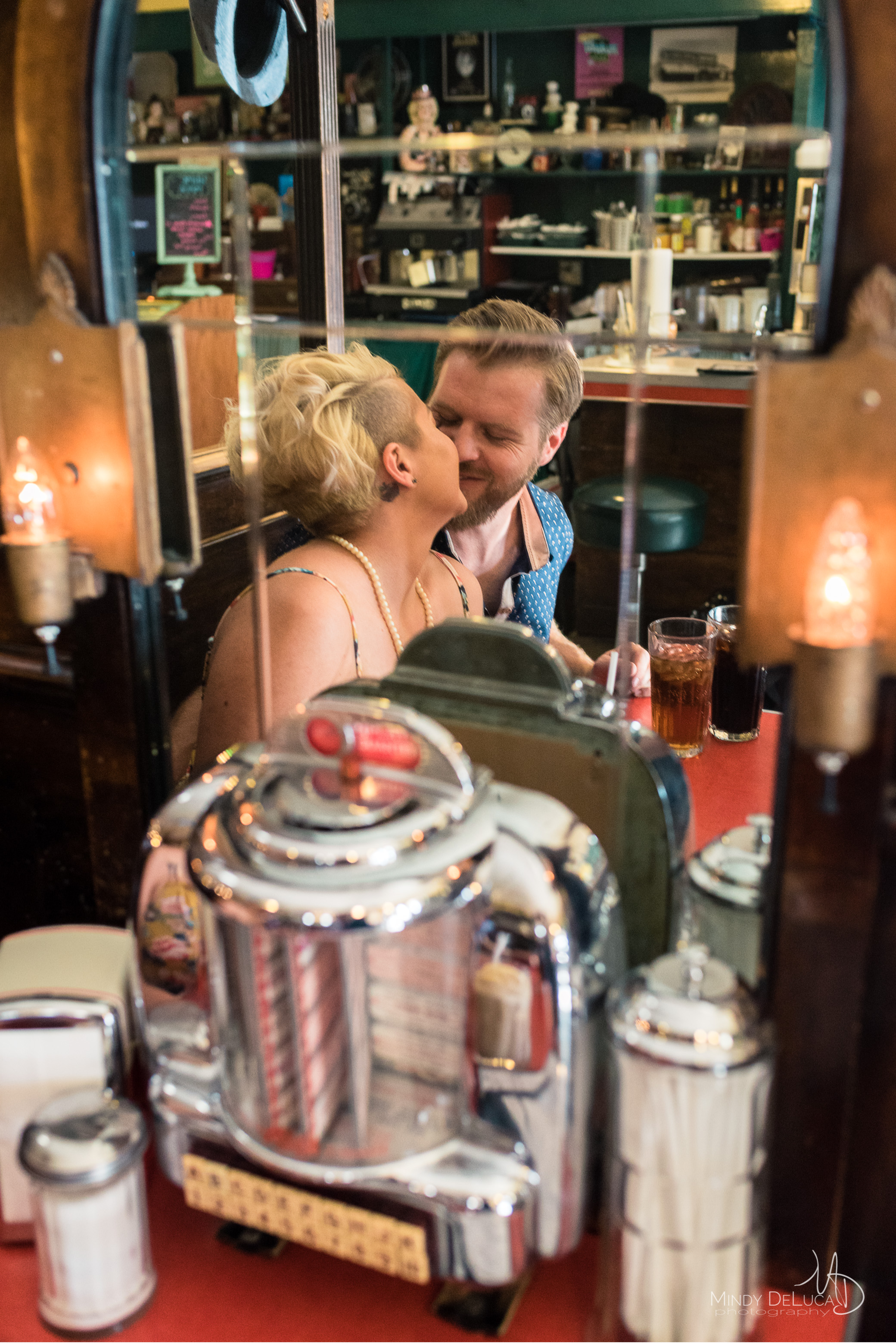 MacAlpines Fun Soda Shop Engagement Photo