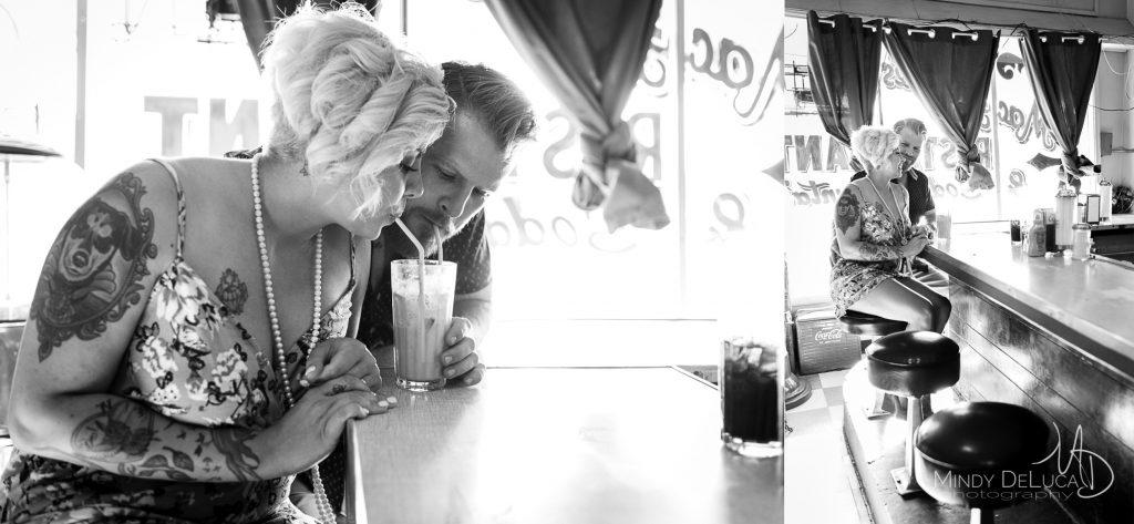 MacAlpines Soda Shop Engagement Photo