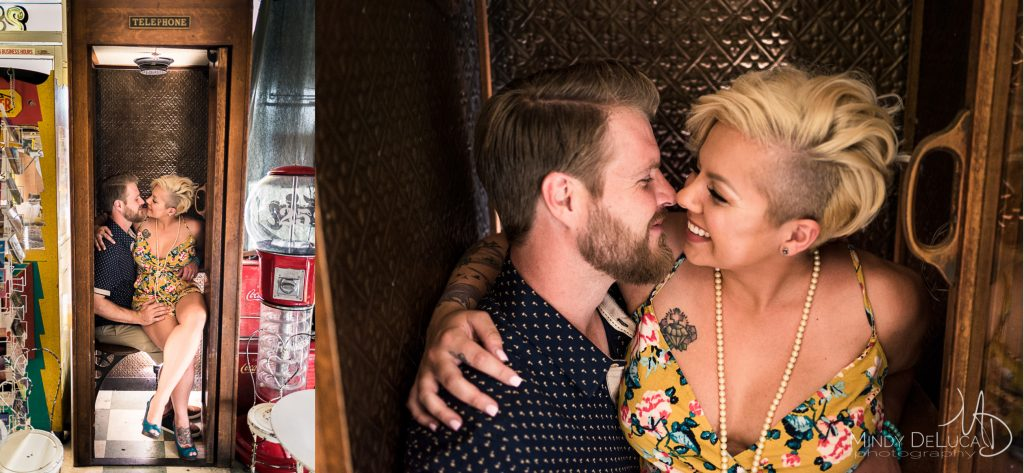 Antique Telephone Booth Engagement Photo